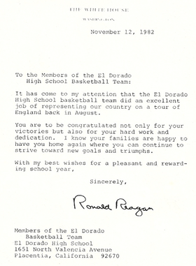 1982 ED Basketball Letter from Reagan